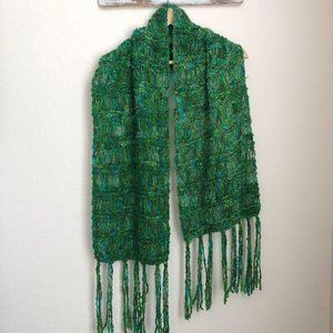 Knitted Scarf in Green and Blues with Fringe